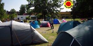 Tentstation wird temporär zum Anti-Atom-Camp