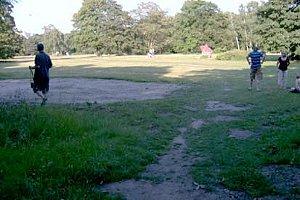 Wegen Bodenverdichtung durch im Tiergarten parkende Autos während früherer  Loveparade-Events kann das Gras der früheren Langgraswiese rur noch langsam wachsen (Tiergartenexkursionen2006).