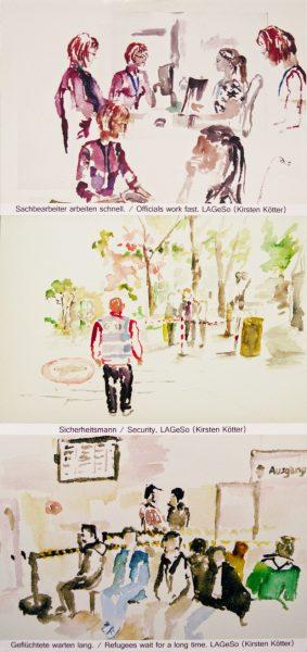 Ausschnitt aus Collage: Sachbearbeiter arbeiten schnell. Flüchtlinge warten lang. Copyright Kirsten Kötter